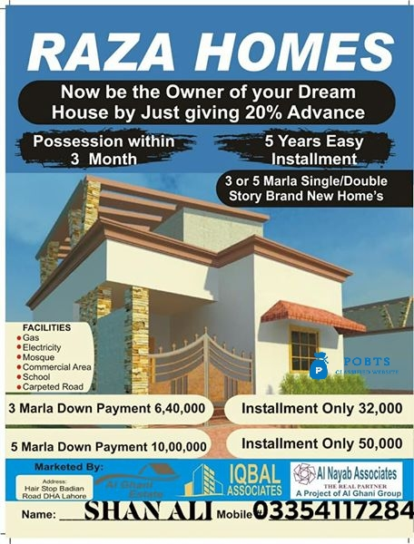 3 and 5 marla houses on 5 year's easy installments