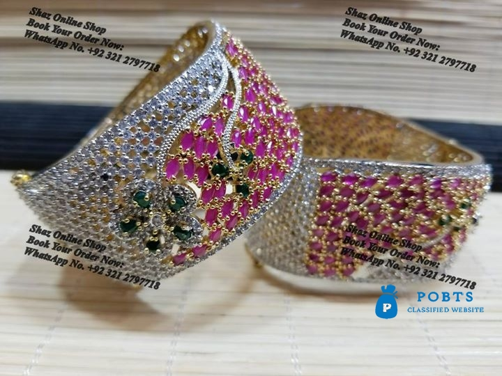 Gold Plated  Zircon Stone Studded Jewellery. ORDER NOW / WhatsApp No. +92 321 2797718