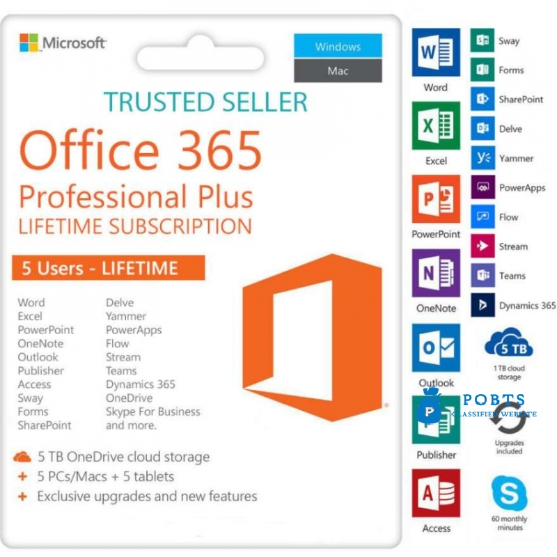 Microsoft Office 365 Pro 2019 for 10 Windows Mac Mobile Life Time