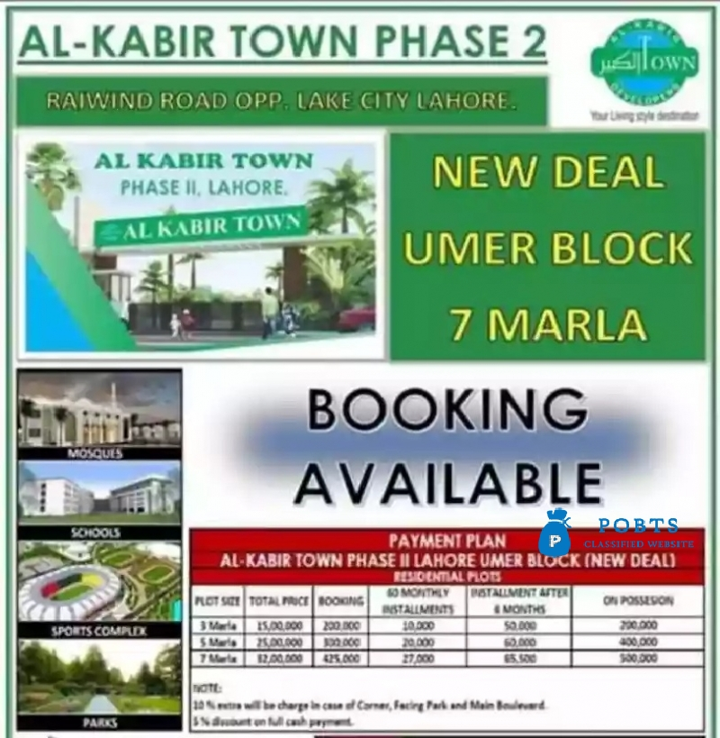 3 Marla plots available on easy monthly installments in Al Kabir town