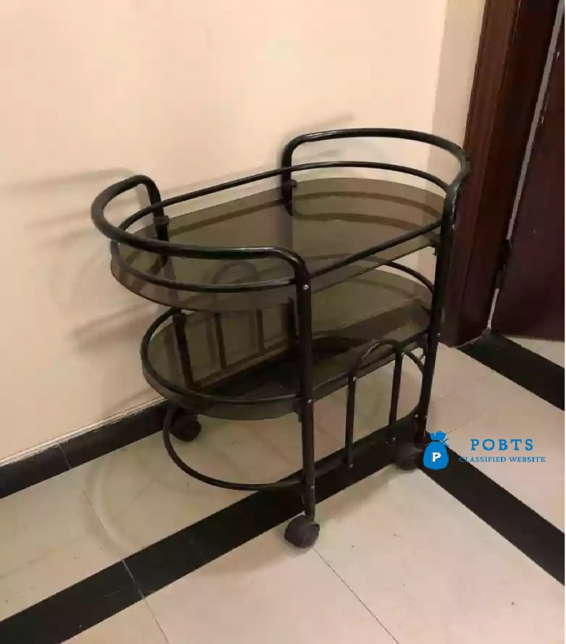 Moving Trolly with Tyre with 2 glass