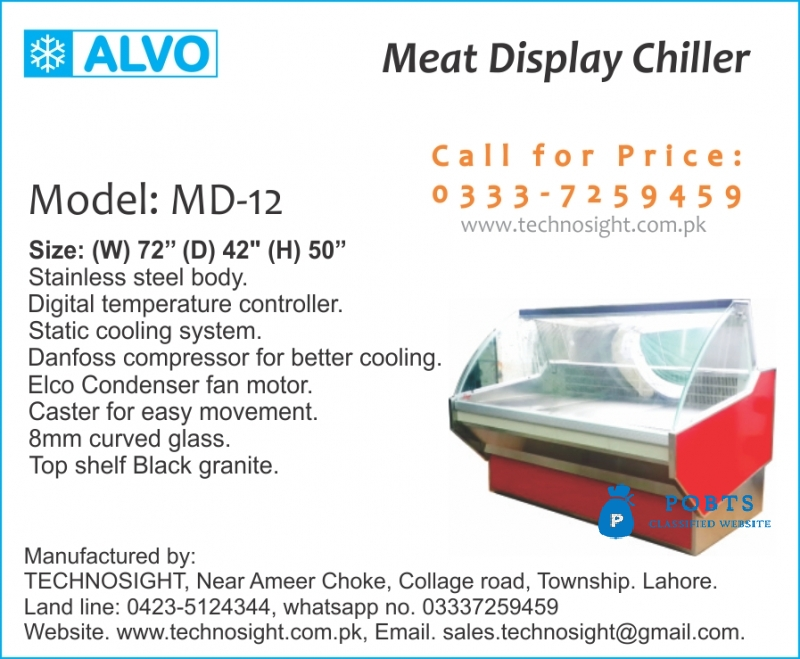 Commercial Meat Shop Equipment sale in Pakistan, Meat Display Chiller Sale by Technosight, Meat Shop Equipment