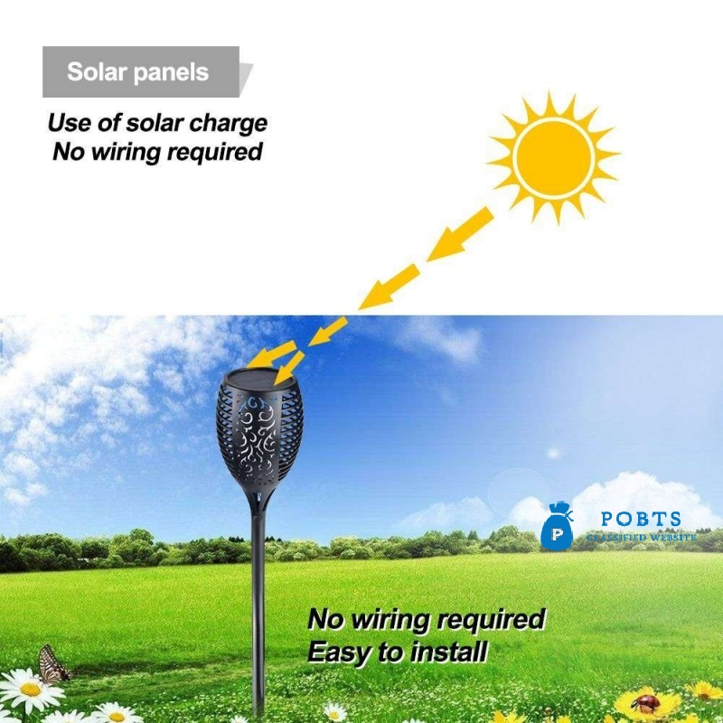 LED Solar Flame Lamp / Fire Light Flame Flickering Water Proof Torch