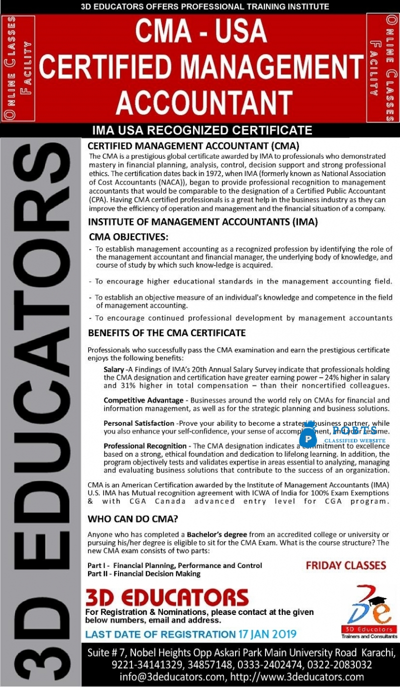 CMA - Certified Management Accountant Training