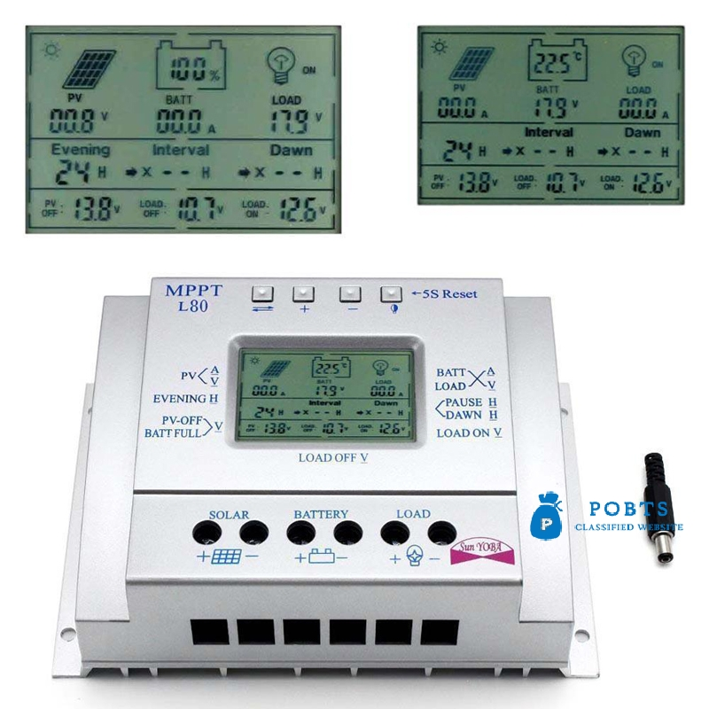 LCD 60A80A AMP MPPT Solar Panel Battery Regulator Charge Controllers CE 12V24V