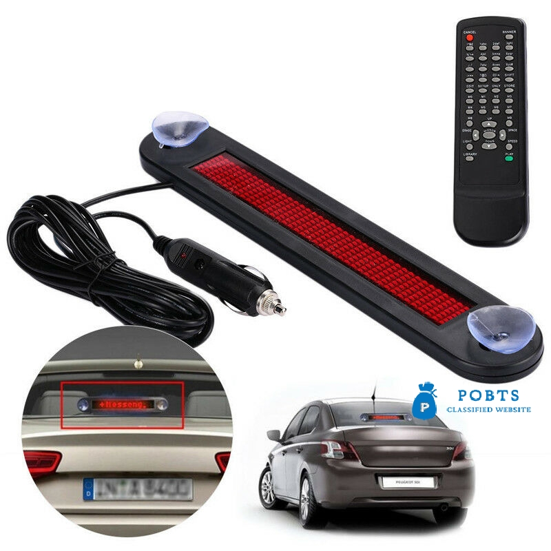 12V Car Red LED Programmable Message Sign Scrolling Display Board Remote Control