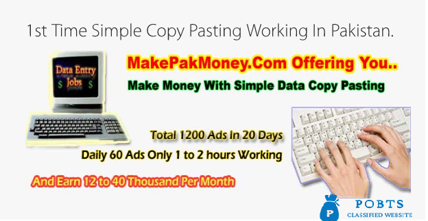 Data Entry Jobs in Pakistan at Home.