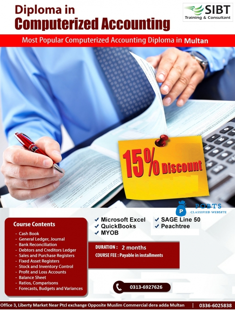 Computerized accounting Courses In Multan