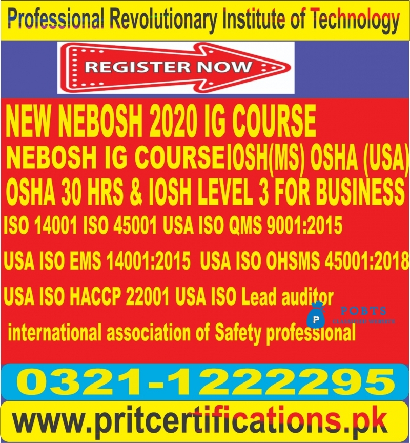 New Nebosh 2020 IG course in  Khanpur