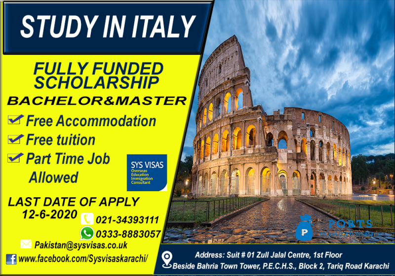 Study In Italy Fully funded scholarship
