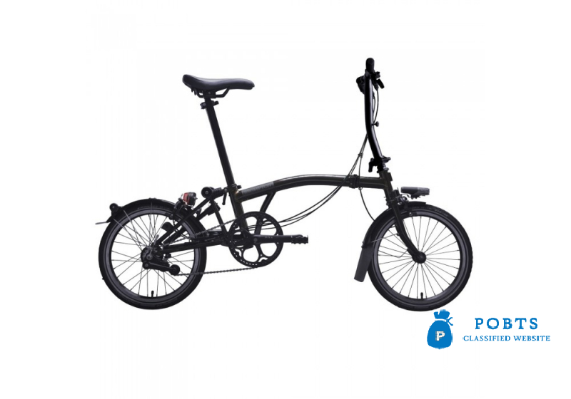 BROMPTON BLACK EDITION STEEL S2L FOLDING BIKE WITH MUDGUARDS (WorldRacycles)