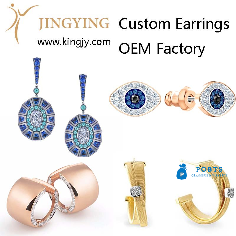 Custom earrings gold plated silver jewelry supplier and wholesaler