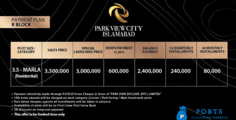 3.5 Marla Plots - Park View City Islamabad for sale