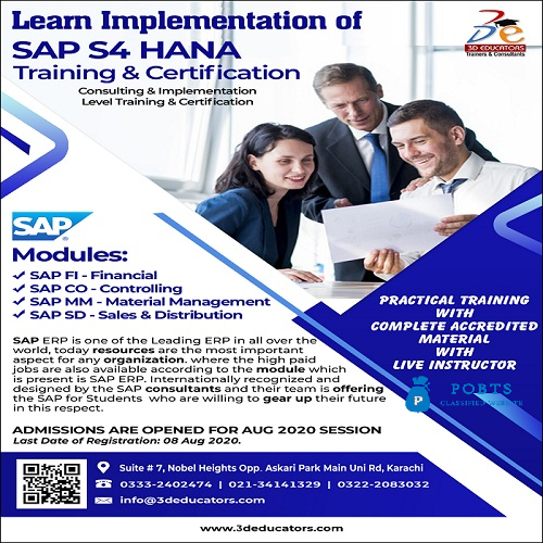 Learn Implementation of SAP S4 HANA Training & Consulting - 3D Educators.
