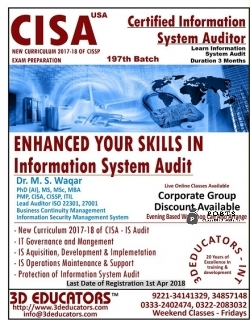 CISA - CERTIFIED INFORMATION SYSTEM AUDITOR TRAINING