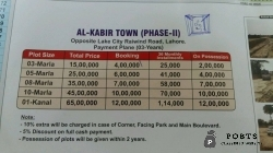 3 marla plot file umer block Al Kabir town ph 2 raiwind road