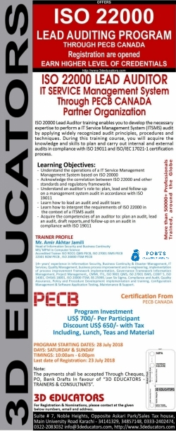ISO 22000 Lead Auditor Course in Pakistan - Food Safety