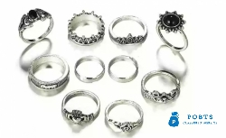 10 Pcs Unique Ring Set - Bohemia Antique Silver Elephant Flower Rose H