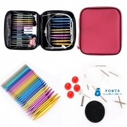 13 Sizes Interchangeable Aluminium Circular Crochet Knitting Needles Craft Case