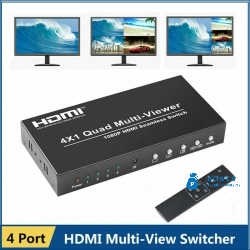 1080P HDMI 4x1 Quad Multi-viewer Converter PIP Seamless Switcher Remote Control