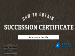 Legal Way To Get The Succession Certificate Nadra : Jamila Law Associate