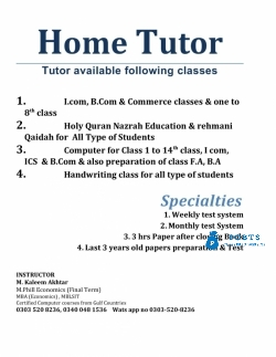 home tutor available AT YOUR HOME